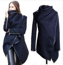 Thicker,New 2014 Women Coat autumn Winter Woolen Long Sleeve Overcoat Fashion Trench Desigual Woolen Coat v16 Casacos Femininos(China (Mainland))