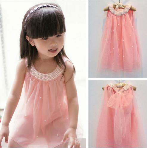 AliExpress.com Product - 2014 summer girl dress girls pearl collar dress pink white color cute princess girl vest dress 2-6 year