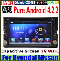 Pure Android 4.2 A9 1.6G cpu universal Car DVD GPS for Hyundai Tucson 2004-2008 Elantra Accent Capacitive screen 3G WIFI RADIO