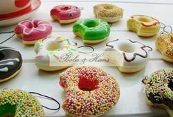 Free Shipping/ Cute cartoon Donut squishy charm / mobile pendant Straps / Wholesale(China (Mainland))