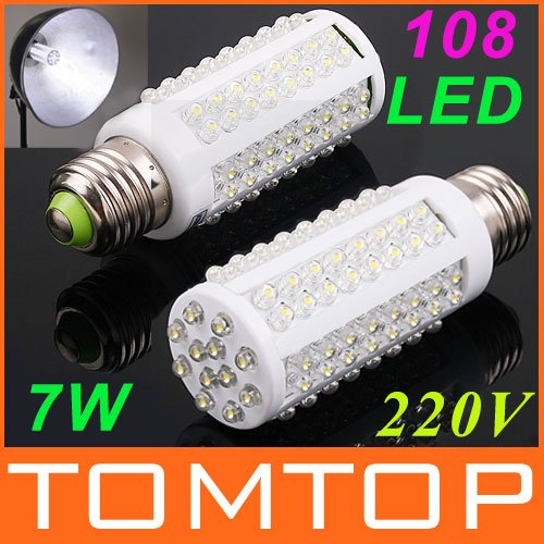 Ultra bright LED bulb 7W E27 220V Cold White or Warm White light LED lamp with 108 led 360 degree Spot light Free shipping(China (Mainland))