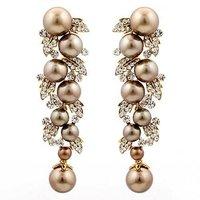 brown gold pearl earrings WEDDING Jewelry BA-120 AAA crystal earrings  high-end Neoglory Rihood Jewelry