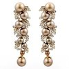 brown gold pearl earrings WEDDING Jewelry BA-120 with Swarovksi elements crystal earrings  high-end Neoglory Rihood Jewelry