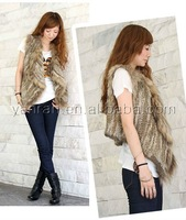 YR-053 Ladies' knitted rabbit and raccoon dog fur vest ~drop shipping ~ many colors
