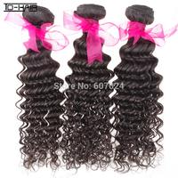 Aliexpress 6A 100% unprocessed virgin brazilian human hair extensions deep curl hair weft 3pcs/lot natural color1b free shipping