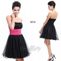 HE03214BK Cute Strapless Black Rhinestones Organza Cocktail Dress 2014