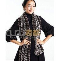 QD11466 Genuine Natural Rex Rabbit fur Scarf muti color hot sell winter Women Fur Neck Warmer Wraps