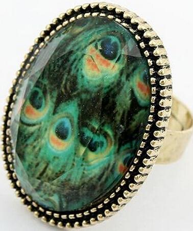 Fashion Vintage Peacock Feather Crystal Imitation Gem Ring R342(China (Mainland))