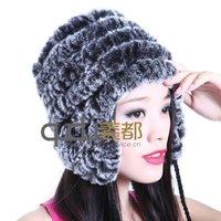 QD5450 Genuine Women Rabbit Fur Hat Cap with Earflap Fashion Cute Headgear/Wholesale/Retail OEM