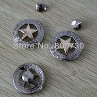 10pc 1-1/8'' Western Concho Texas Star Silver & Gold Saddlery Concho