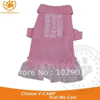 Cleance Stock ! Freight Cost Only, Dog Clothes1pc In  Drop Shipping, Double Knit Dog Sweater With Lace Skirt