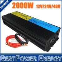 Free Shipping 2000W Power Inverter, DC12V/24V/48V to AC110V/220V Pure Sine Wave Inverter for Off Grid Solar Wind Power System