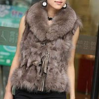 BG11616 2012 New Style Genuine Brown Lady Fashion Fox Fur Vest Winter Ladies&#39;Warmer Gilet L,XL,XXL,XXXL OEM/Wholesale