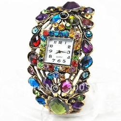 JW007 Fashion Peacock Style Retro colored stones bronze Wrist Watch Bracelet Watch Free Shipping(China (Mainland))