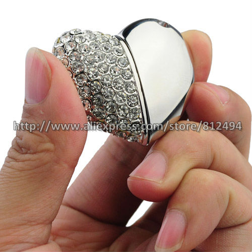 Free Shipping,Jewelry Heart Shape USB Pen Drive,Crystal Heart USB Memory Disk,Swarovski Crystal USB Disk With Free Necklace