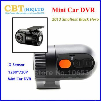 2013 New MIini Car DVR recorder  HD 1280*720p 30FPS  support G-Sensor 120 degree wide angle Black Hero