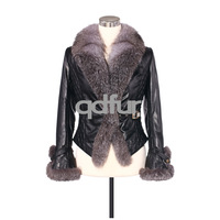 6 Colors Genuine Sheep Leather Jacket with Fox Fur Trim winter fashion coats women coat/WholeSale/Retai/Free Shipping QD5891