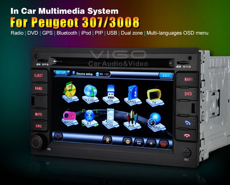 Touch screen Auto Radio Multimedia for Peugeot 307 3008 car DVD GPS Navigation with Virtual 6 disc memory Bluetooth A2DP RDS(Hong Kong)