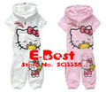 [E-Best] Hello Kitty summer clothing sets girls sports cartoon suits Hooded T-shirt+short pants 2 colors E-SSW-006
