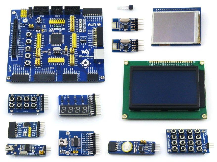 AVR Development Board ATmega128A-AU 8-bit RISC AVR ATmega128 Development Board +11 Accessory Kits =OpenM128 Package B