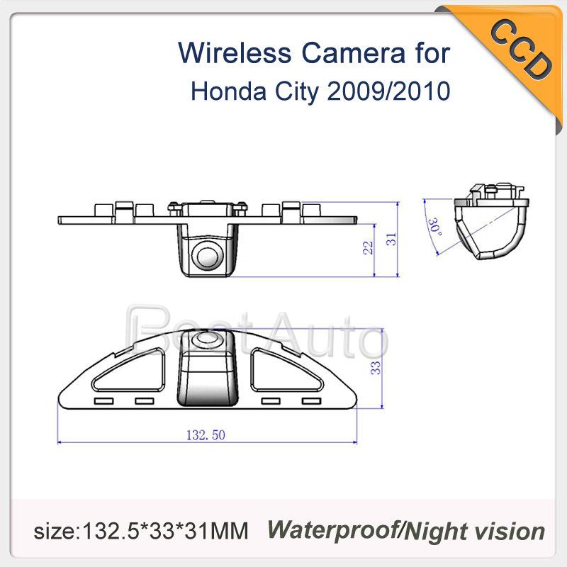 "Auto Backup Camera wireless CCD 1/3"" car parking camera for Honda City 2009/2010 Pixels:728*582 night version waterproof(China (Mainland))"