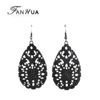 Pendientes Jewelry Water Drop Flower Dangle Vintage Earrings Fashion New 2014 Brincos Grandes For Women