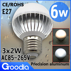 Free shipping,Dimmable 3*2W led light bulb E27 AC85~265V Cool white/Warm white 2 years warranty CE & ROHS high power led lamp(China (Mainland))
