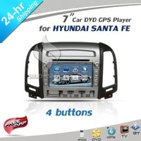 In stock 4 holes 7&#39;&#39; Car DVD GPS player CANBUS option iPod TV BT for HYUNDAI SANTA FE 2006-2012 CE/ROHS/FCC certified+4Gmap
