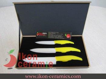 """Free Shipping! High Quality New 100% Zirconia 4"""",5"""",6"""" 3-piece (Yellow) AJX Ceramic Knife set(AJ-TZ3W-AY)"""