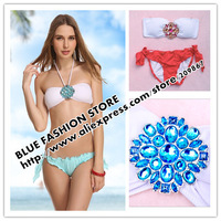 Promotion! 2014 [SM100] new arrival women' swimsuit/ swimwear/ beachwear/bikini set  red blue crystal shining free shipping