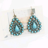 Min.order is $8 (mix order), Bule Resin Earrings Studded with Diamond, Drop Earrings E017