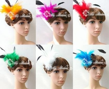 FEATHER HAIR CLIP/FASCINATOR - VARIOUS COLOURS - UNIQUE TO FASCINATING FLOSSY
