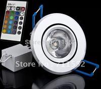 5PCS/Lot 3W 4WRGB LED Ceiling Light 16 Colors RGB LED light + Remote Control  85-265V (4lot free shipping)