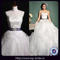 S660 Real Photo Luxury Ruffle Crystal Wedding Dresses