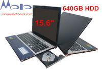 Free shipping 15.6inch laptop computer 640GB HDD with DVD-ROM RW Intel D2500/N2600 dual core 1.86Ghz WIFI camera game computer