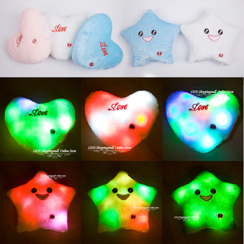 Freeshipping,colorful LED light pillow lucky heart star shaped glow light cushion best gift for valentine