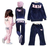 FREE SHIPPING RETAIL PINK girls tracksuits, HOT Girls children hooded suits girls casual set Little Spring