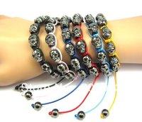 skull  Bracelet Jewelry Colorful String Gun Black Skull Shamballa Bracelet,hand made bracelet