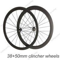 Only $415, 38mm front 50mm rear clincher bike wheelset  Carbon fiber road Racing bicycle wheelset