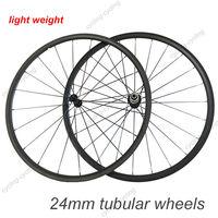 Super light 24mm TUBULAR bicycle carbon wheels 700c Carbon fiber road bike Racing wheelset