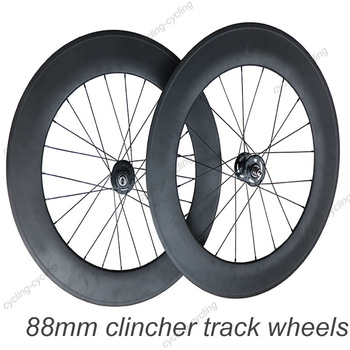 700c 88mm clincher carbon track bike wheels fixed gear fixie bicycle wheelset
