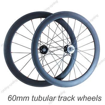 FREE SHIPPING 700c 60mm Tubular carbon track bike wheels fixed gear fixie bicycle wheelset