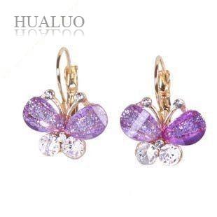 Fashion Korea Style Wings Rhinestones Purple Bow Butterfly Earrings E36 E39 E47 E53 E187(China (Mainland))