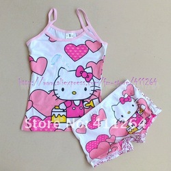 5sets/lot (3-7Y) wholesale children kids cute cartoon underwear suit, girl's camisole + boxer briefs set pajamas Free shipping(China (Mainland))