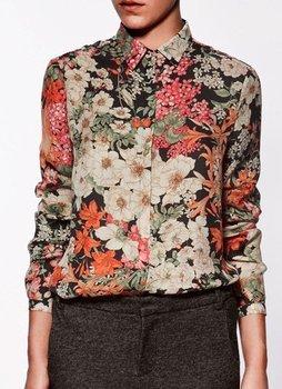 ST01 new fashion OL style simple casual Womens' Vintage Flower Print Long Sleeve Chiffon Blouses Ladies Fashion Shirts