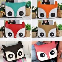 Women Fashion Beautiful PU Leather Cute Cartoon Fox Head Shoulder Bag 3 Colors 3743