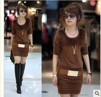 Free shipping,new arrival o neck ladies cotton dress,not include belt spring/autumn/winter clothes,Wholesale &Retail