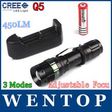 (Flashlight+18650 Battery + Charger) CREE Q5 7W 450LM 3 modes adjustable Brightness Waterproof led flashlight(China (Mainland))