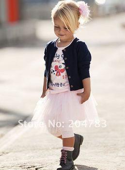 New 2014 Girls autumn -summer Suits 3 pieces clothing Cardigan  girls dresses children CS20701-07^^LM