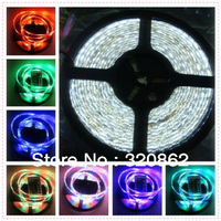 Free shipping 12V RGB 5M 3528 SMD Led Strip Light  Waterproof Decoration Lighting  + 24 key IR Remote control +Adapter 12V 3A